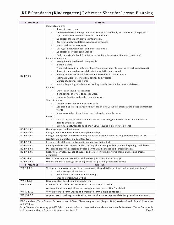 Standard Based Lesson Plan Template Luxury Kde Standards for Lesson Plans