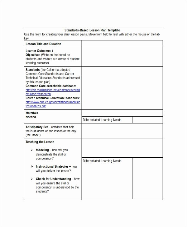 Standard Based Lesson Plan Template New Lesson Plan Template 22 Free Word Pdf Documents Download