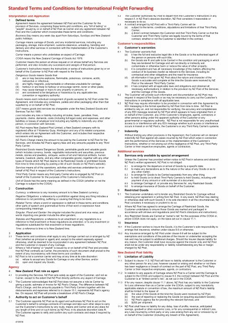 Standard Bill Of Lading Awesome Standard Bill Of Lading Conditions New Zealand Post