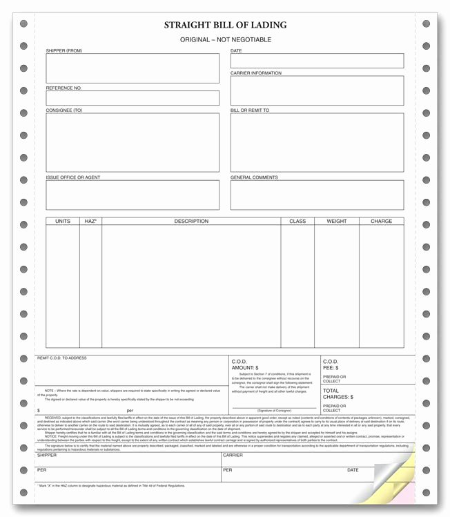 Standard Bill Of Lading Luxury Bill Of Lading forms Templates In Word and Pdf Excel