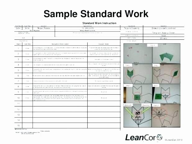 Standard Work Template Excel Beautiful Free Work Instruction Template S