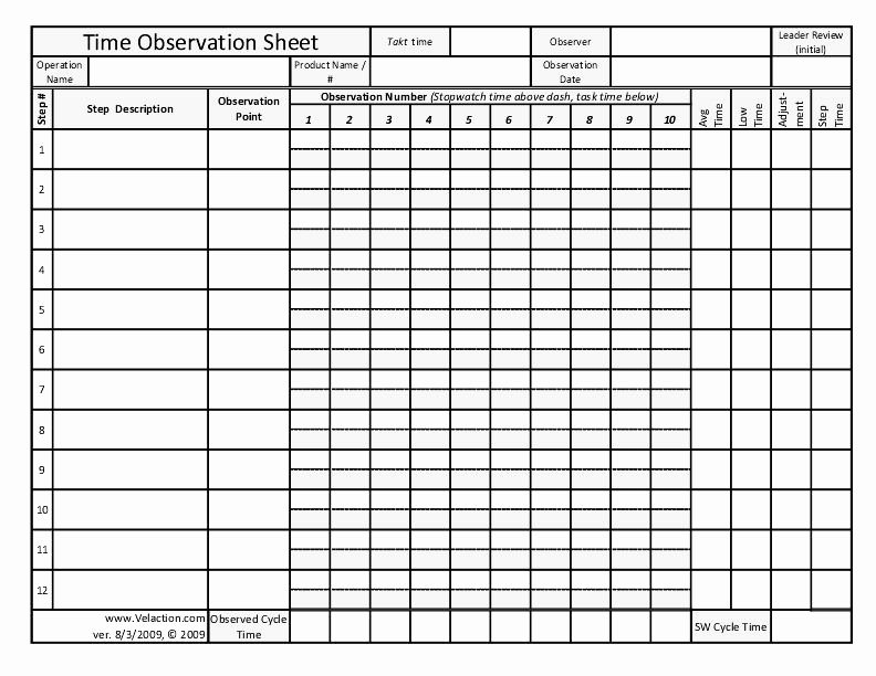 Standard Work Template Excel Fresh Time Observation Sheet Free form for Documenting Lean Standard Work