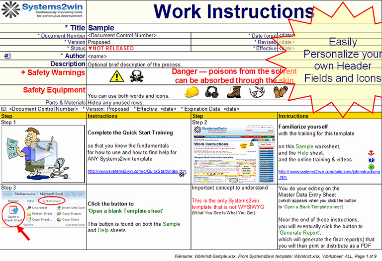 Standard Work Template Excel Inspirational Work Instruction Template