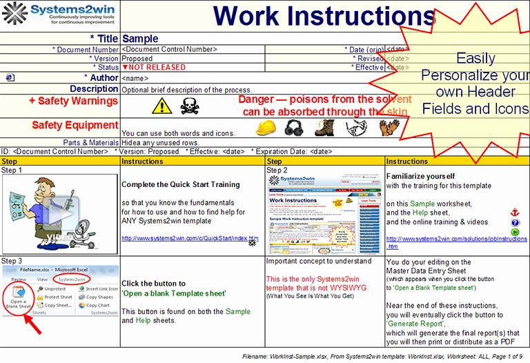 Standard Work Template Excel Inspirational Work Instruction Template