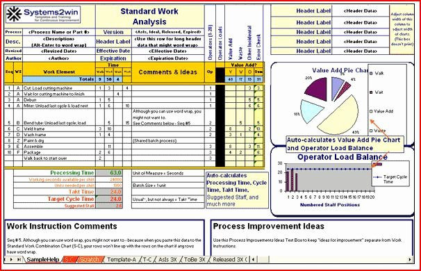 Standard Work Template Excel Lovely Easy to Use Lean Six Sigma software tools