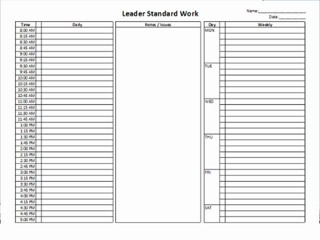 Standard Work Template Excel Lovely Standard Work Template