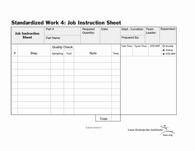 Standard Work Templates Excel Unique Standardized Work Job Instruction Sheet