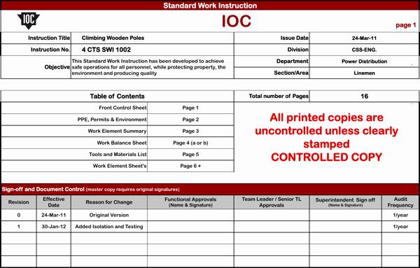 Standardized Work Instruction Template Best Of Download Standard Work Instruction Template for Free