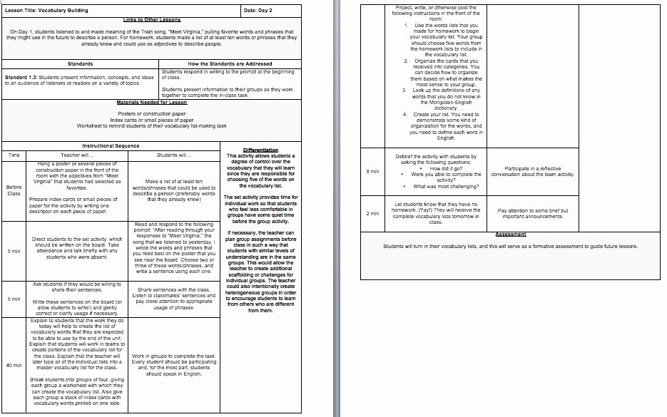 Standards Based Lesson Plan Template Awesome Sample Lesson Plans Teaching English Abroad A Guide for First Year Teachers