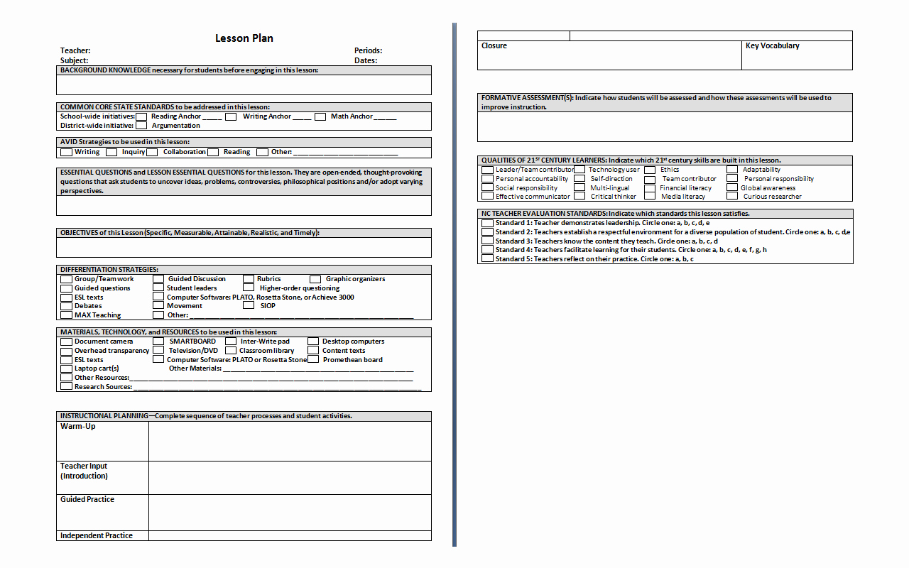 Standards Based Lesson Plan Template Best Of Lesson Plan Template