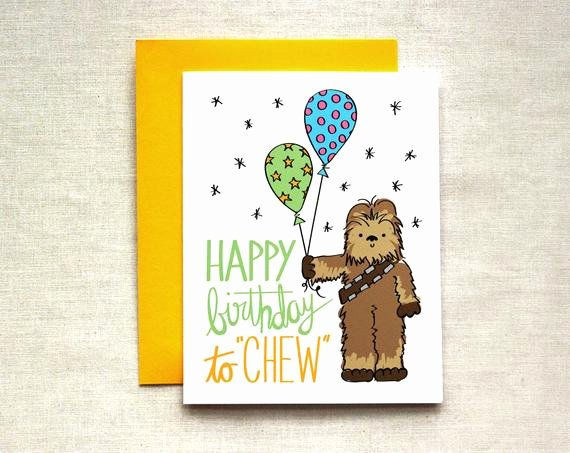 Star Wars Birthday Card Printable Elegant Chewbacca Birthday Card Star Wars Birthday Card Happy