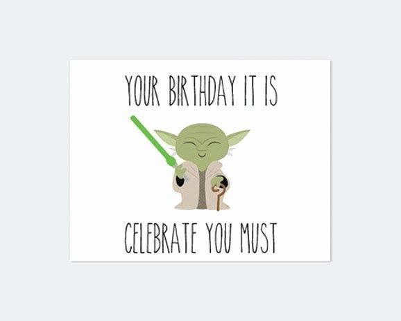 Star Wars Birthday Card Printable Elegant Star Wars Birthday Card Printable Yoda Por
