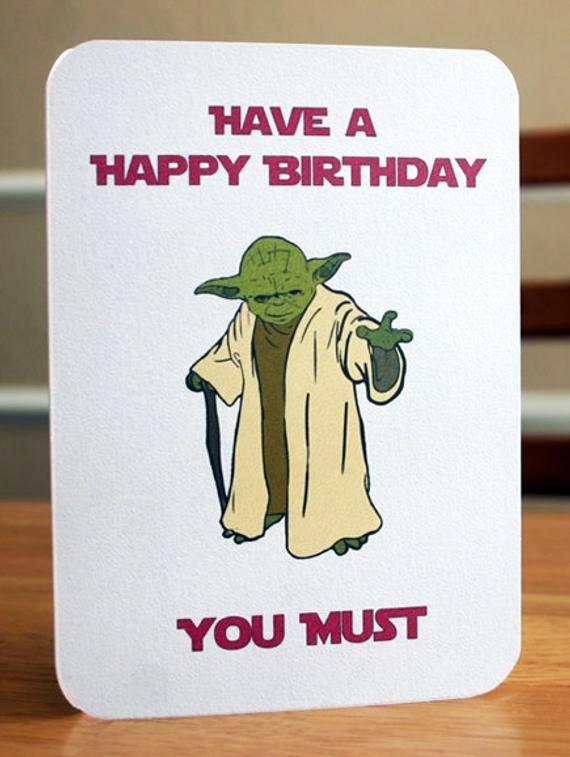 Star Wars Birthday Card Printable Inspirational Star Wars Printable Birthday Card Yoda Card by