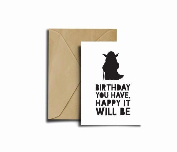Star Wars Birthday Card Printable New Items Similar to Star Wars Bithday Yoda Card Star Wars