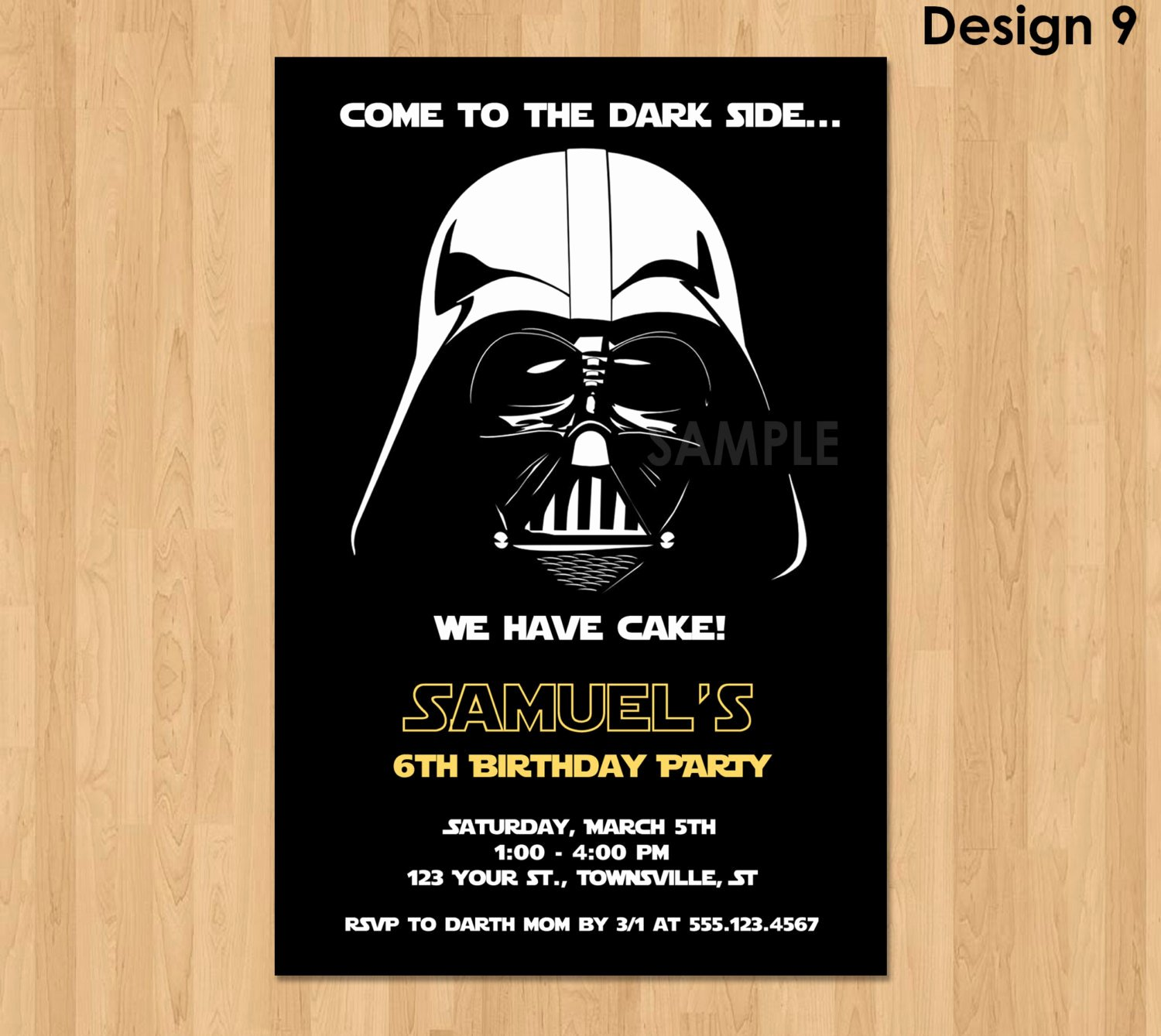 Star Wars Birthday Invitation Beautiful Darth Vader Invitation Star Wars Birthday Invitation Star