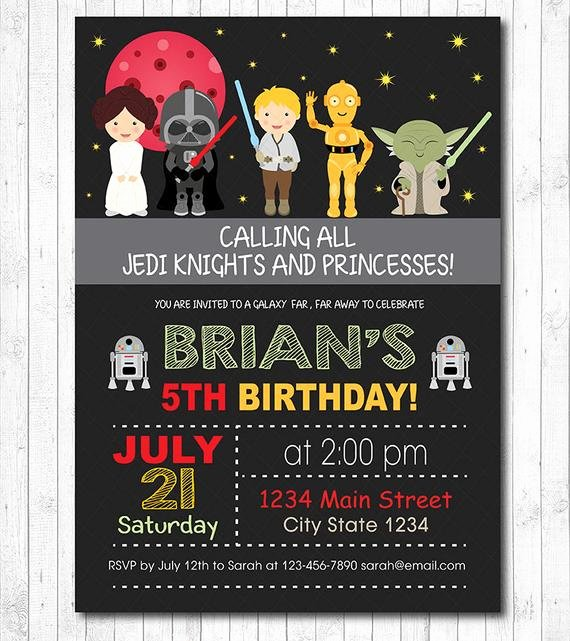 Star Wars Birthday Invitation Best Of Star Wars Invitation Star Wars Invite Star Wars Birthday
