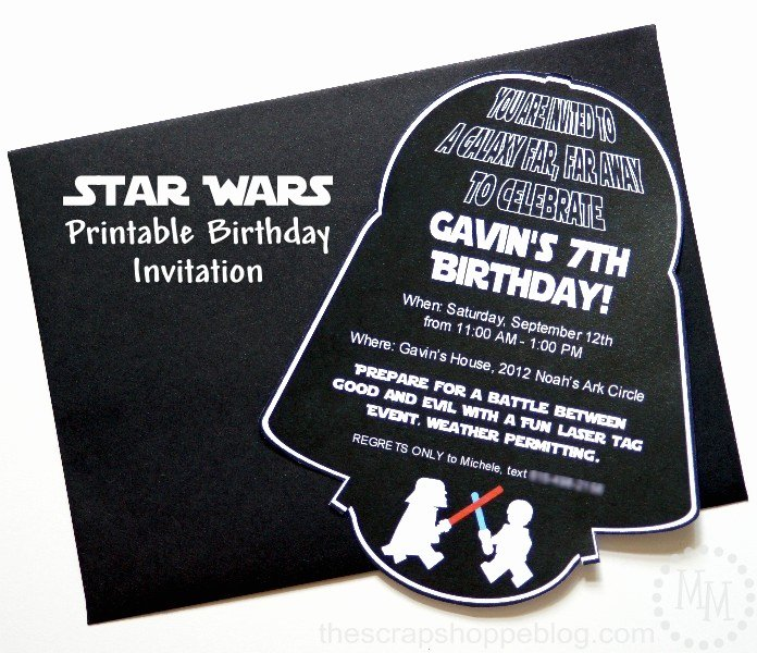 Star Wars Birthday Invitation Elegant Star Wars Darth Vader Birthday Invitation the Scrap Shoppe