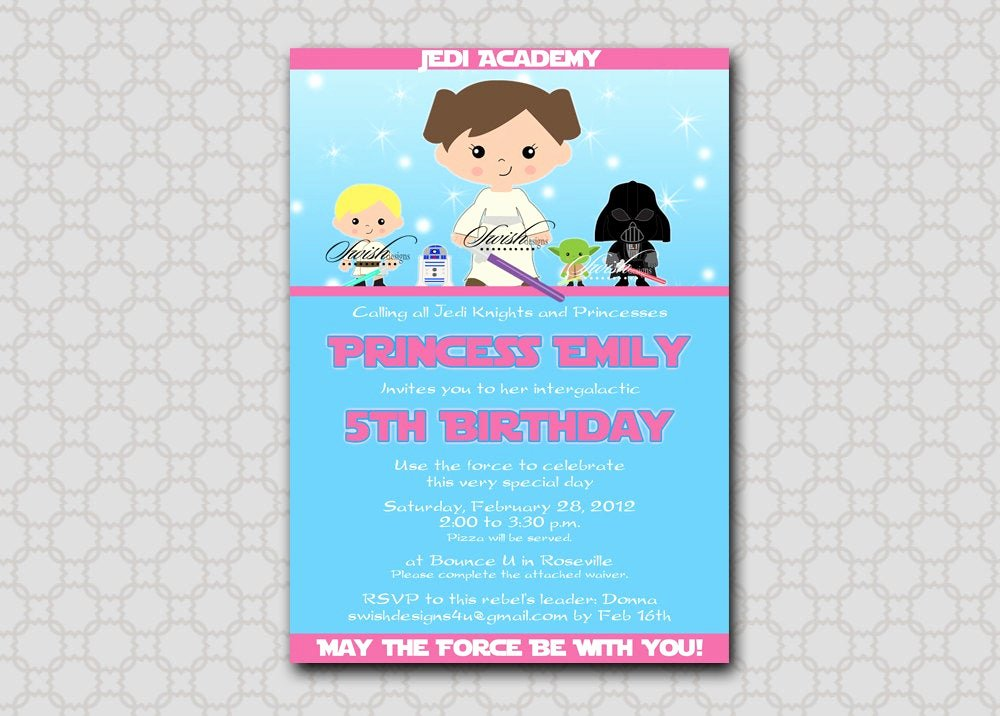 Star Wars Birthday Invitation Inspirational Star Wars Birthday Invitation for Girls Birthday Invite