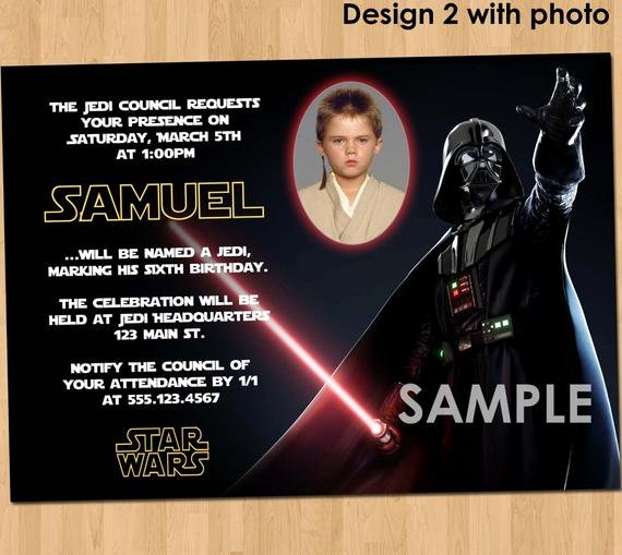 Star Wars Birthday Invitation Luxury Star Wars Birthday Invitation Custom Invite Star