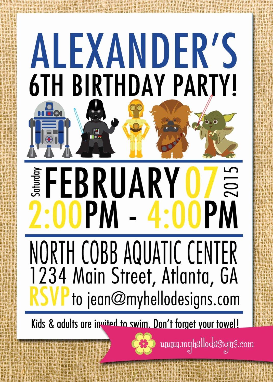 Star Wars Birthday Invitations Fresh Printable Star Wars Inspired Invitation Jedi Invite Diy Boy