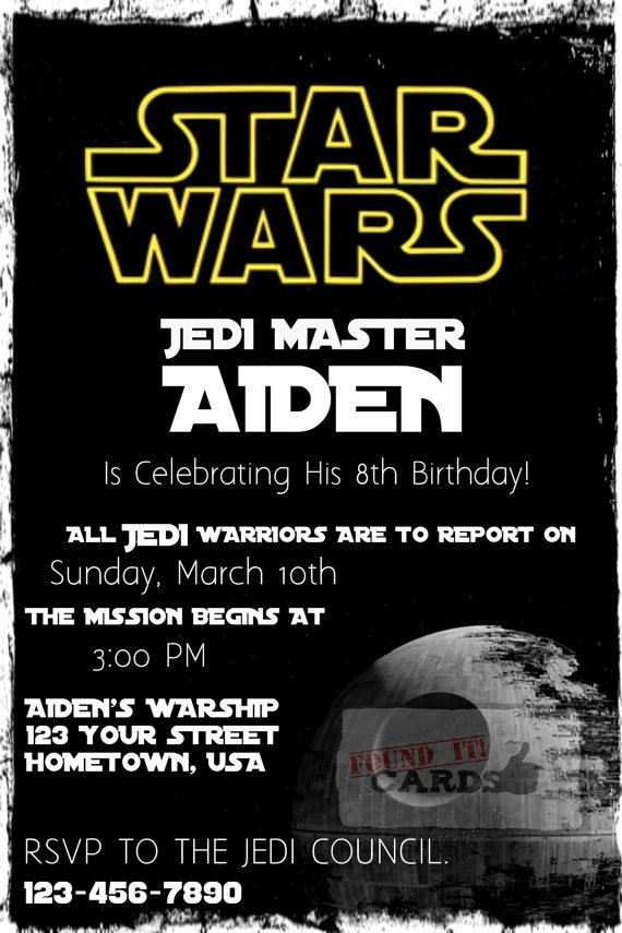 Star Wars Birthday Invitations Luxury Star Wars Birthday Party Invitation Fully by Founditcards On Etsy $10 00