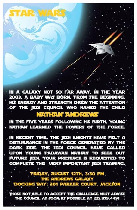 Star Wars Birthday Invitations New Custom Personalized Star Wars Jedi Birthday Invitations and