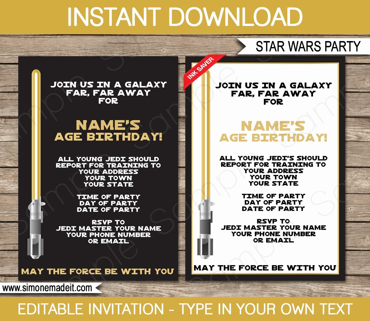 Star Wars Birthday Invitations Unique Star Wars Invitation Template Gold Birthday Party