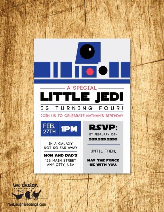 Star Wars Birthday Invite Best Of Star Wars Inspired Birthday Invitation Custom R2d2 Kids
