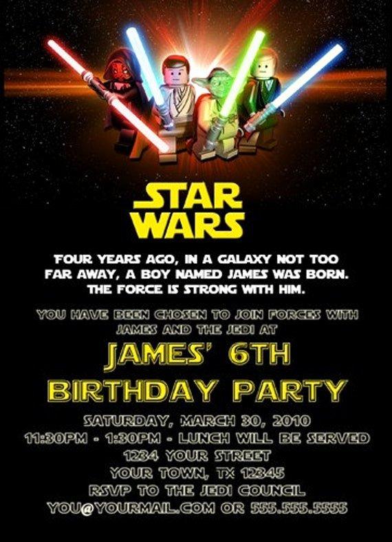 Star Wars Birthday Invite Fresh Custom Printable Happy Birthday Invitation Lego Star Wars