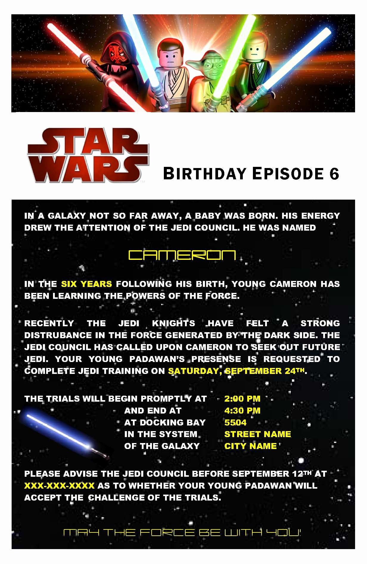 Star Wars Birthday Invite Fresh Star Wars Birthday Party