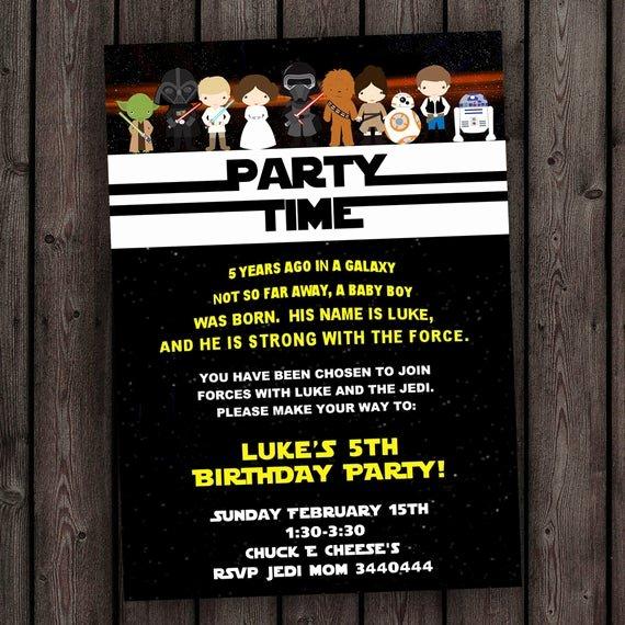 Star Wars Birthday Invite Fresh Star Wars Invitation the force Awakens Invitation Star Wars