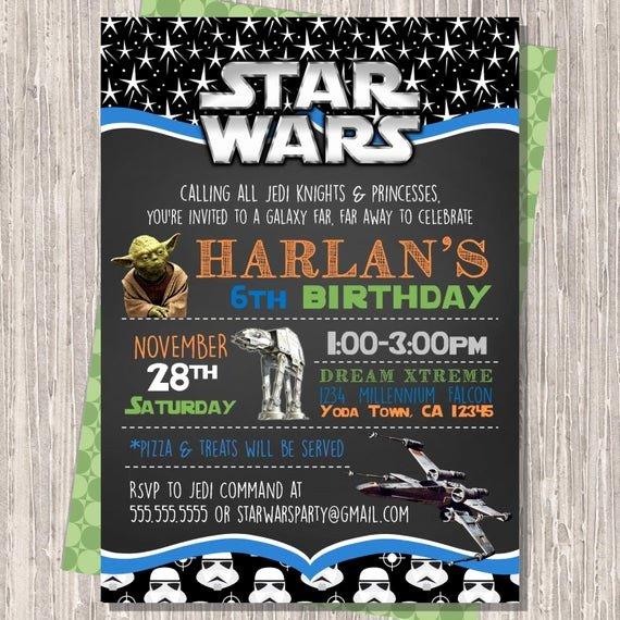 Star Wars Birthday Invite New Star Wars Invitation Star Wars Birthday Invitation Star Wars