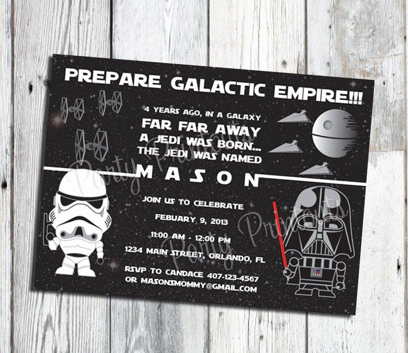 Star Wars Birthday Invites Beautiful Star Wars Inspired Invitation Star Wars Birthday Invitation