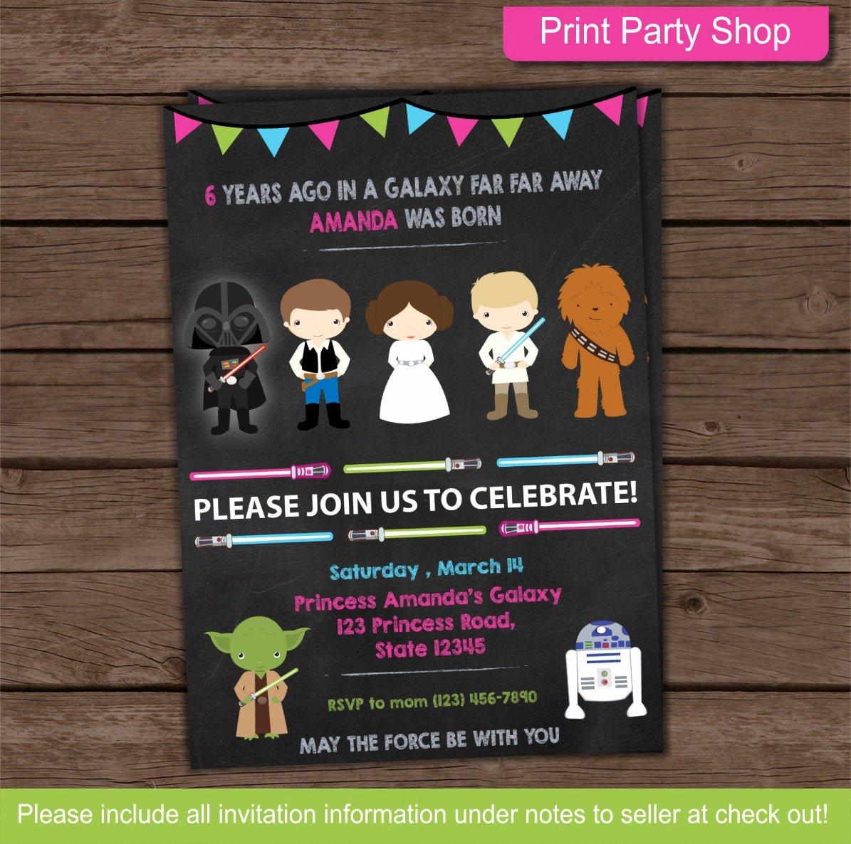 Star Wars Birthday Invites Fresh Girl Star Wars Party Invitation