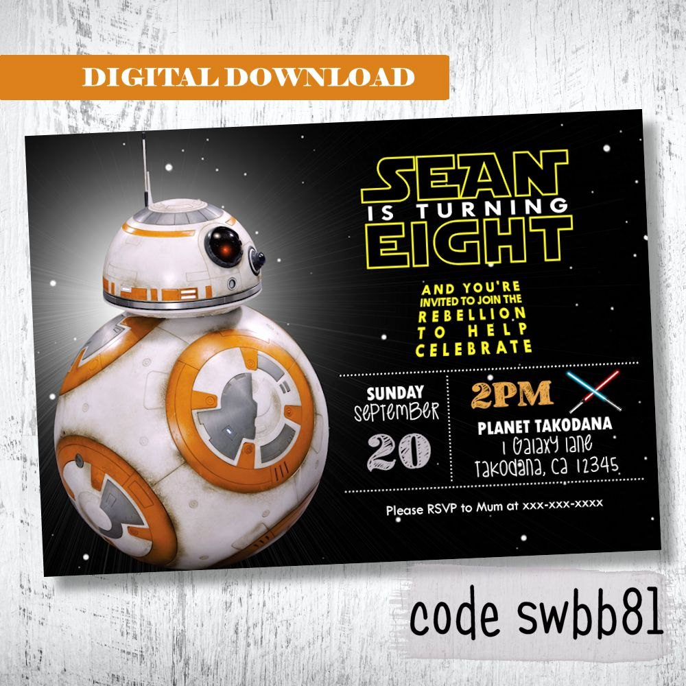 Star Wars Birthday Invites Lovely Bb8 Star Wars Invitation Boys Birthday Invitation Darth