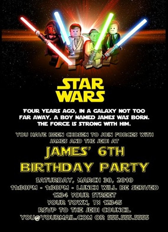 Star Wars Birthday Invites Luxury Custom Printable Happy Birthday Invitation Lego Star Wars