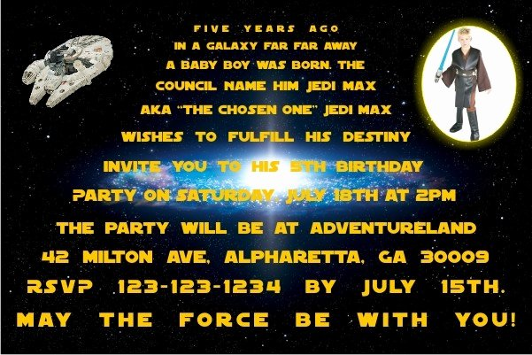 Star Wars Birthday Invites Luxury Star Wars Invitations Personalized Party Invites
