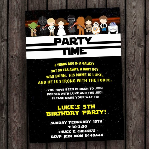 Star Wars Birthday Invites Unique Star Wars Invitation the force Awakens Invitation Star Wars