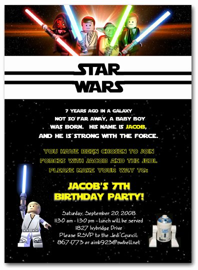 Star Wars Birthday Party Invitation Awesome Lego Star Wars Birthday Party Invitations