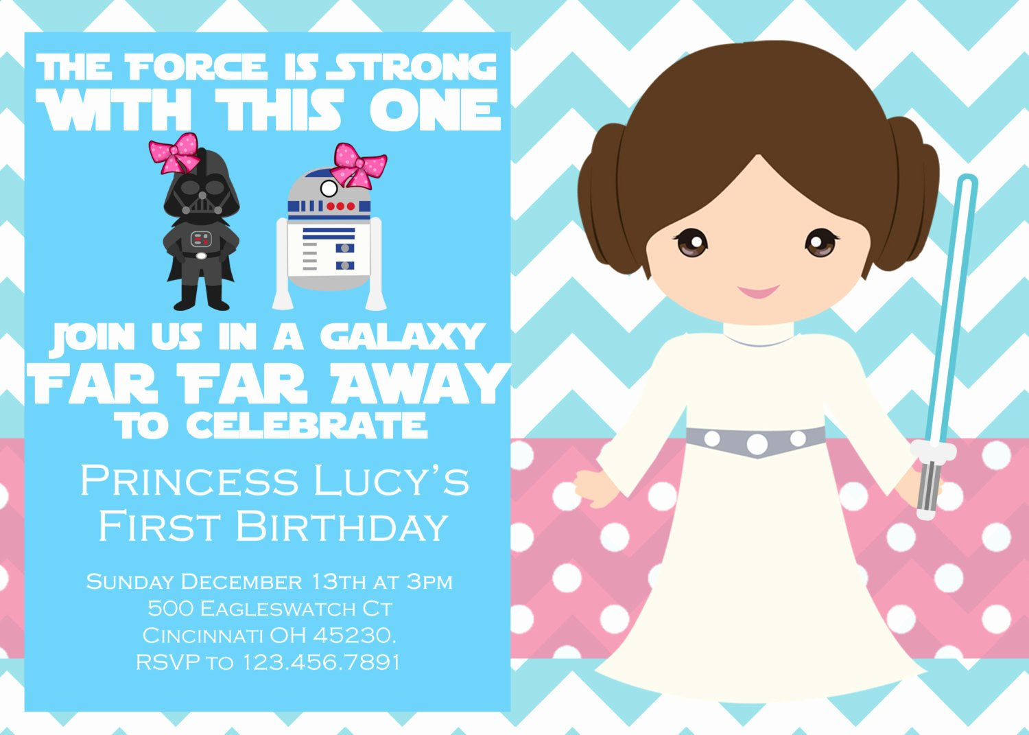 Star Wars Birthday Party Invitation Beautiful Girl Star Wars Birthday Party Invitation by Emilypowelldesigns