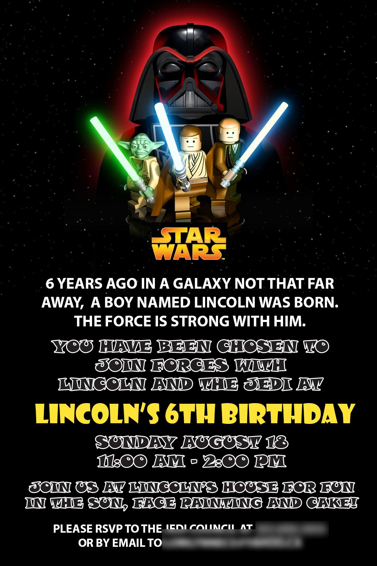 Star Wars Birthday Party Invitation Beautiful Starwars Birthday Invitation Star Wars