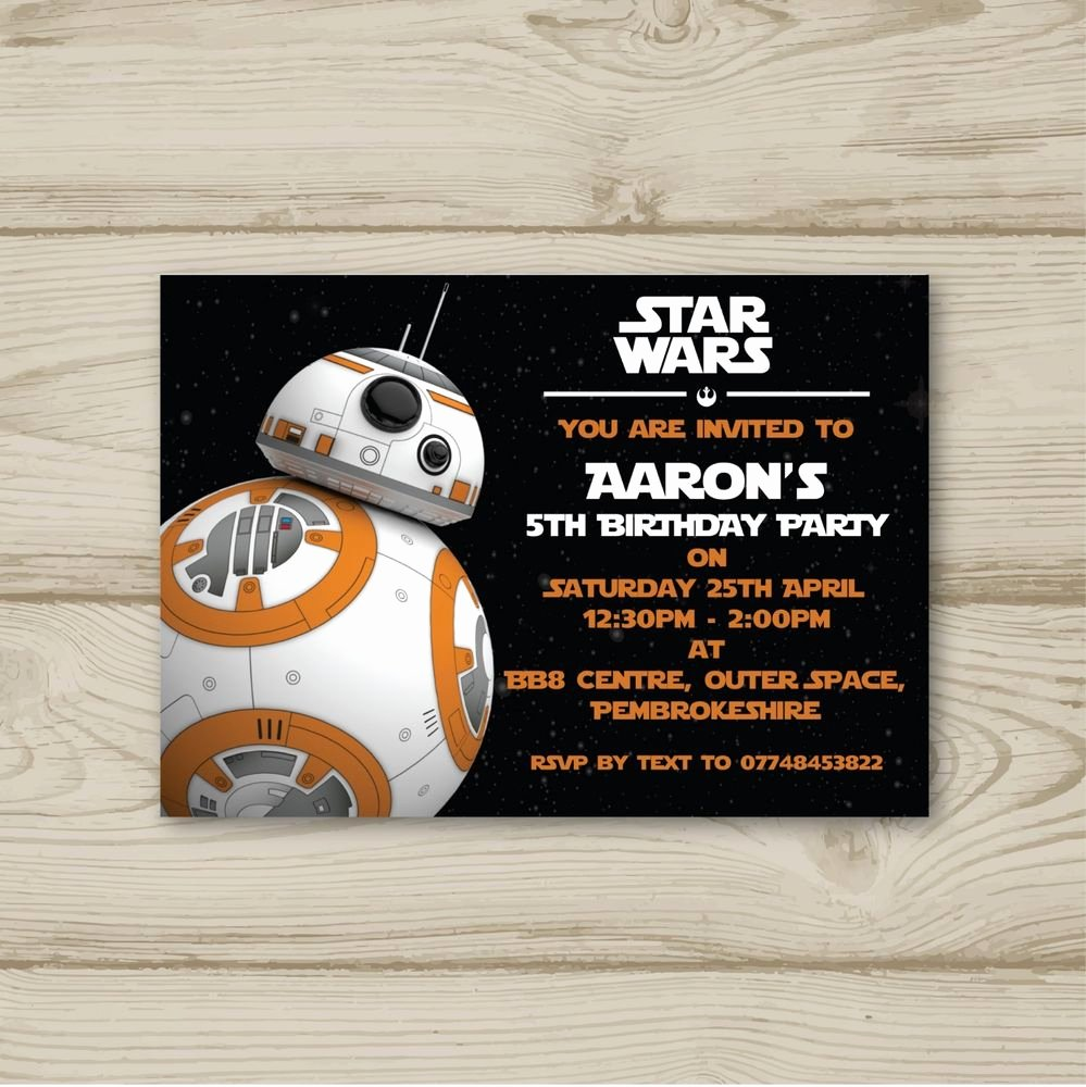 Star Wars Birthday Party Invitation Elegant 10 Personalised Birthday Party Invitations Star Wars Bb8 Free Envelopes