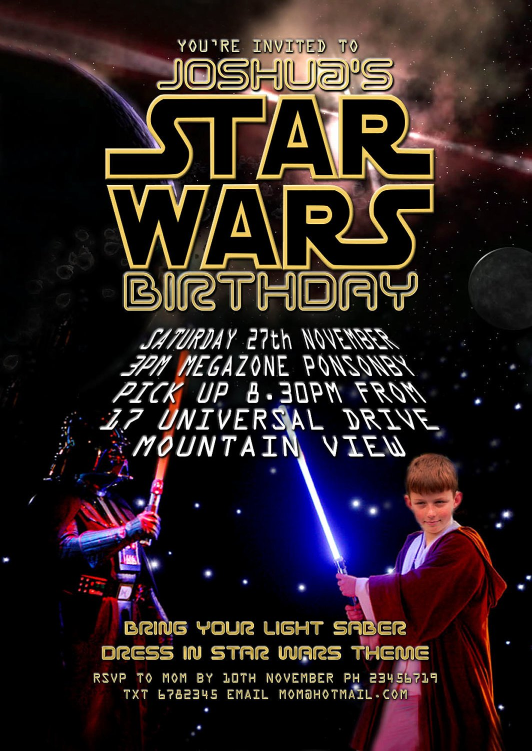 Star Wars Birthday Party Invitation Elegant Lighting