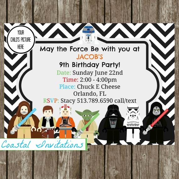 Star Wars Birthday Party Invitation Elegant Star Wars Birthday Invitation Star Wars by Coastalinvitations