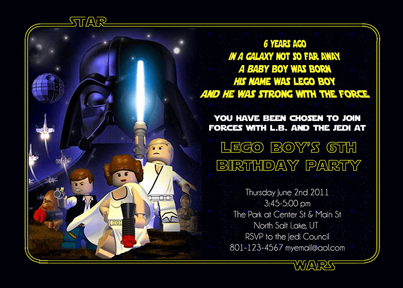 Star Wars Birthday Party Invitation Fresh Lego Star Wars Birthday Party Invitation