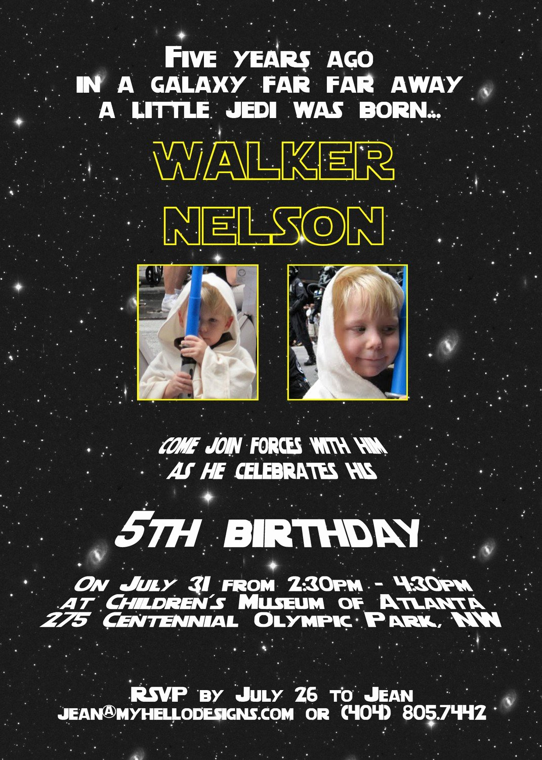 Star Wars Birthday Party Invitation Fresh Printable Star Wars Inspired Invitation Jedi by Myhellodesigns