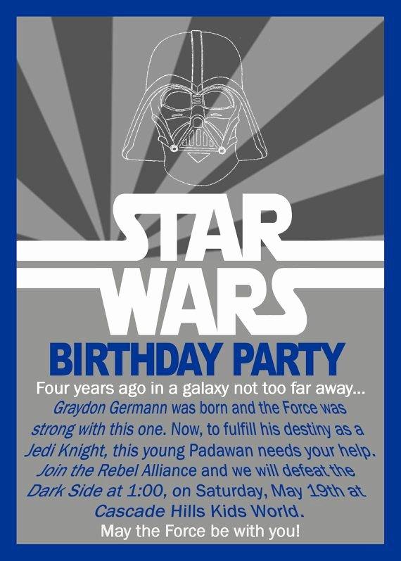 Star Wars Birthday Party Invitation Lovely Star Wars Birthday Invitation by Grayciousdesigns On Etsy $10 00