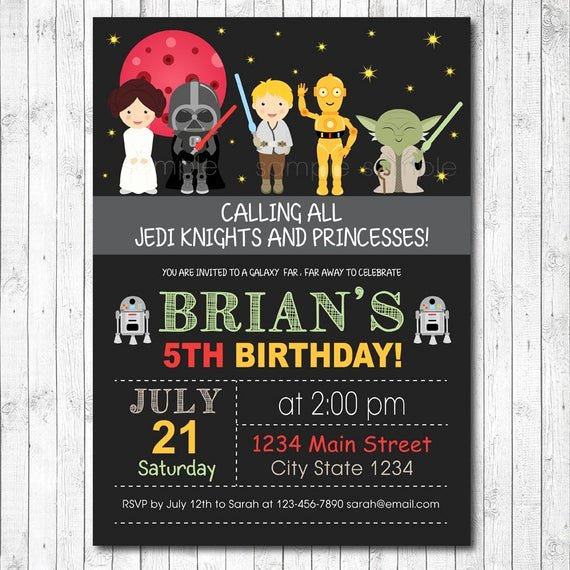 Star Wars Birthday Party Invitation Unique Star Wars Invitation Star Wars Invite Star Wars Birthday