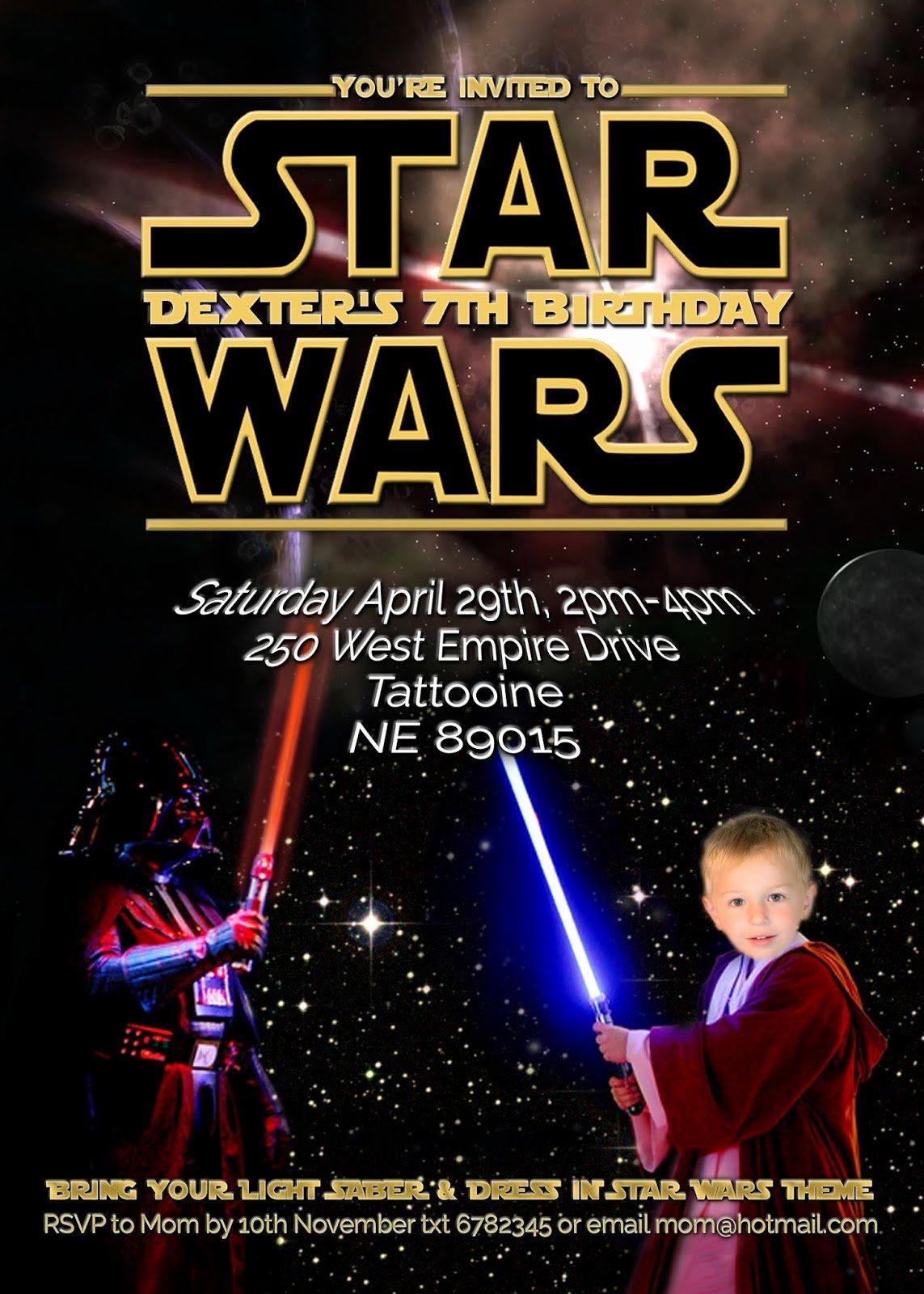 Star Wars Birthday Party Invitations Best Of Free Kids Party Invitations Star Wars Party Invitation Self Edit