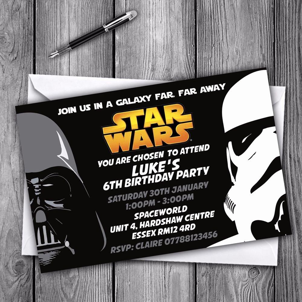 Star Wars Birthday Party Invitations Best Of Star Wars Personalised Invitations Birthday Party Girl Boy Envelopes